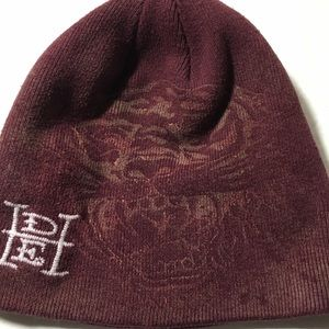 Ed hardy beanie hat for men maroon color